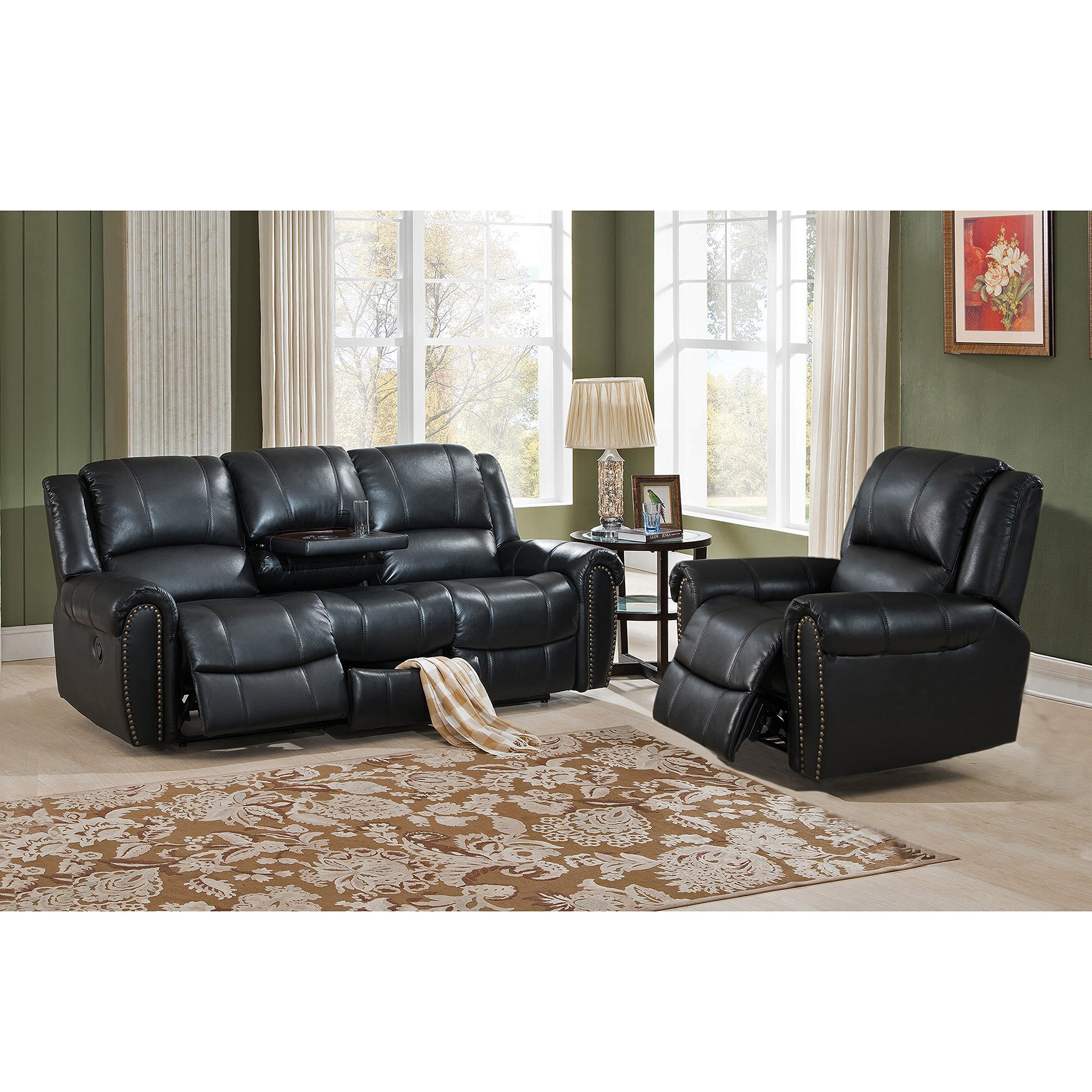 Amax houston 2 piece leather living room set 2 piece leather living room set