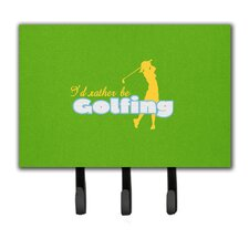 I'D Rather Be Golfing Woman on Green Leash Holder and Key Hook by Caroline's Treasures