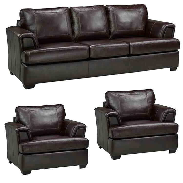Default Name. Coja Royal Cranberry Italian Leather Sofa And 2 Chair Set  Wayfair