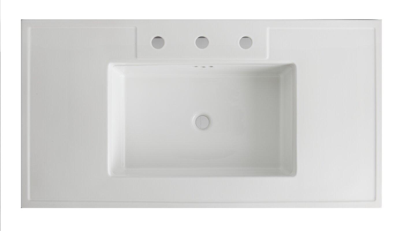 "kohler kathryn fireclay 42"" console bathroom sink with overflow"