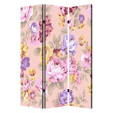 72 x 48 Floral Pattern 3 Panel Room Divider by Screen Gems