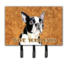 Boston Terrier Wipe Your Paws Key Holder by Caroline's Treasures