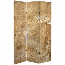 71 x 38.75 Tall Double Sided Sandy Meadow Canvas 3 Panel Room Divider by Oriental Furniture