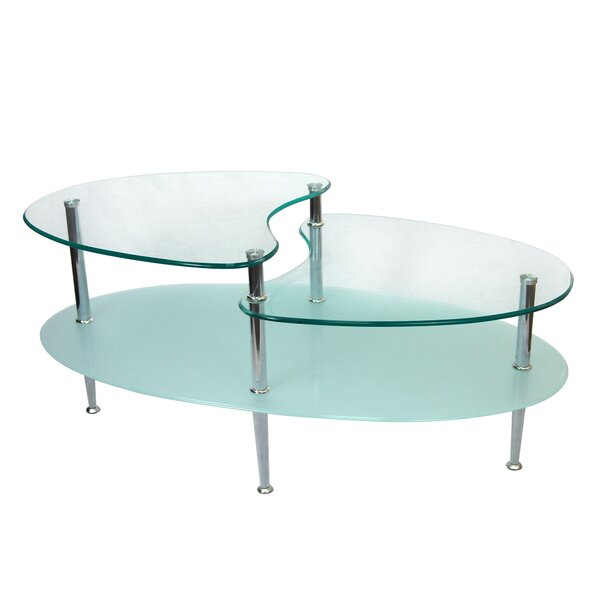 varick gallery cate glass oval coffee table & reviews | wayfair