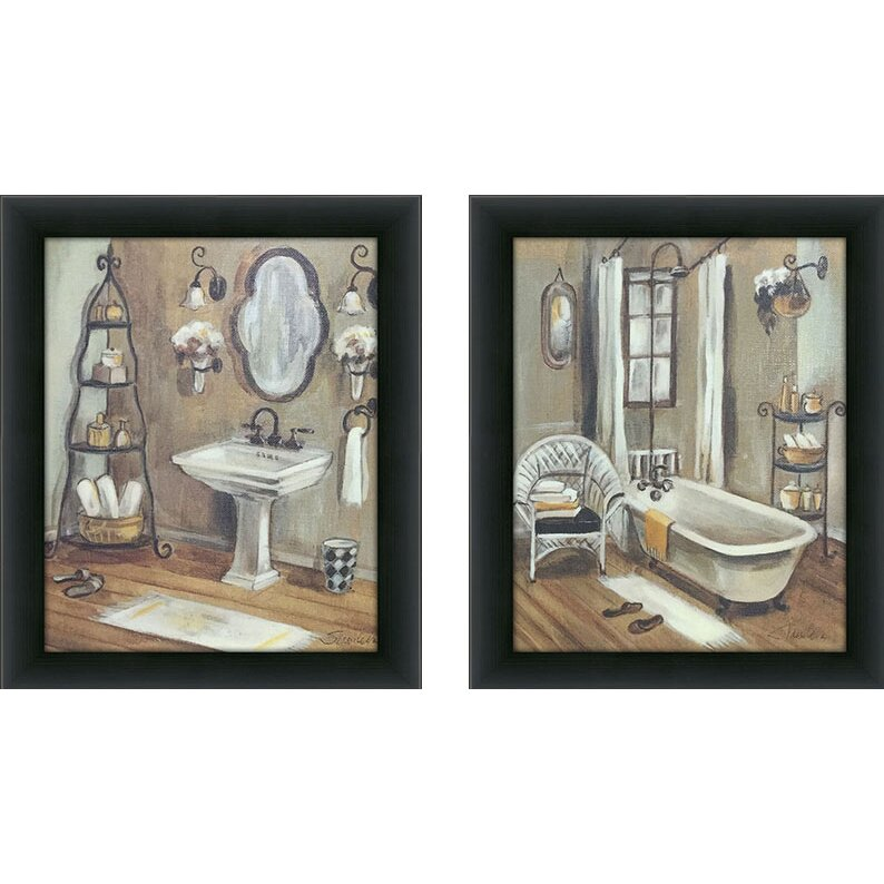 Pictureperfectinternational quotbathroomquot 2 piece framed for Kitchen cabinets lowes with three piece canvas wall art