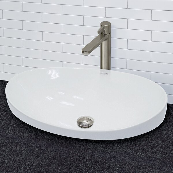 Decolav Vitreous China Above Counter Or Semi Recessed Lavatory Oval Vessel Bathroom Sink With Overflow Reviews Wayfair
