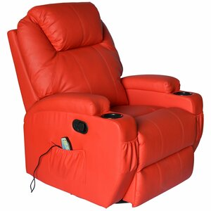 Lexington Deluxe Heated Vibrating Vinyl Leather Massage Recliner by Red Barrel Studio