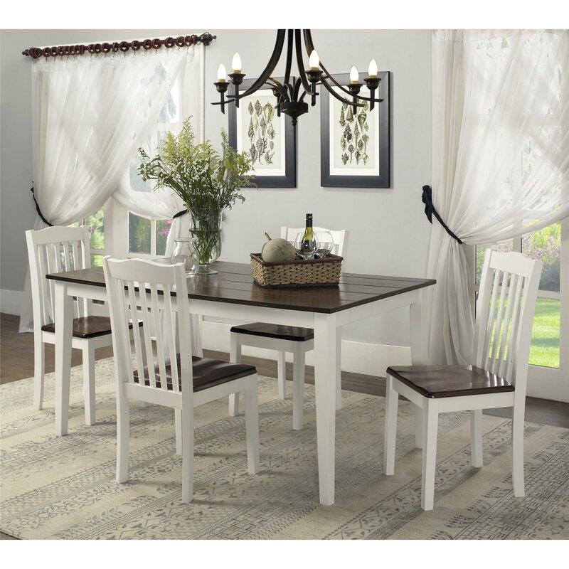 Farmhouse 5 Pc Dining Set White Natural Amazon com Boraam 80369