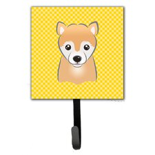 Yellow Checke Shiba Inu Wall Hook by Caroline's Treasures