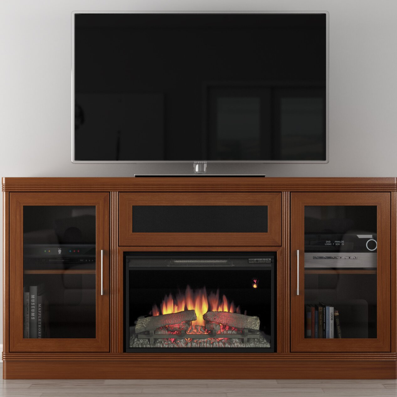 Furnitech Transitional 70 Tv Stand With Electric Fireplace