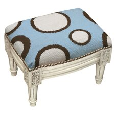 Dots Wool Needlepoint Upholstered Footstool by 123 Creations