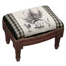 Botanical Fern Wool Needlepoint Upholstered Footstool by 123 Creations