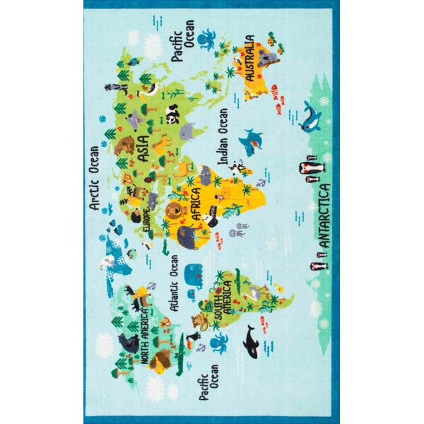 Zoomie Kids Rhea Kids Animal World Map Blue/Green Area Rug U0026 Reviews |  Wayfair