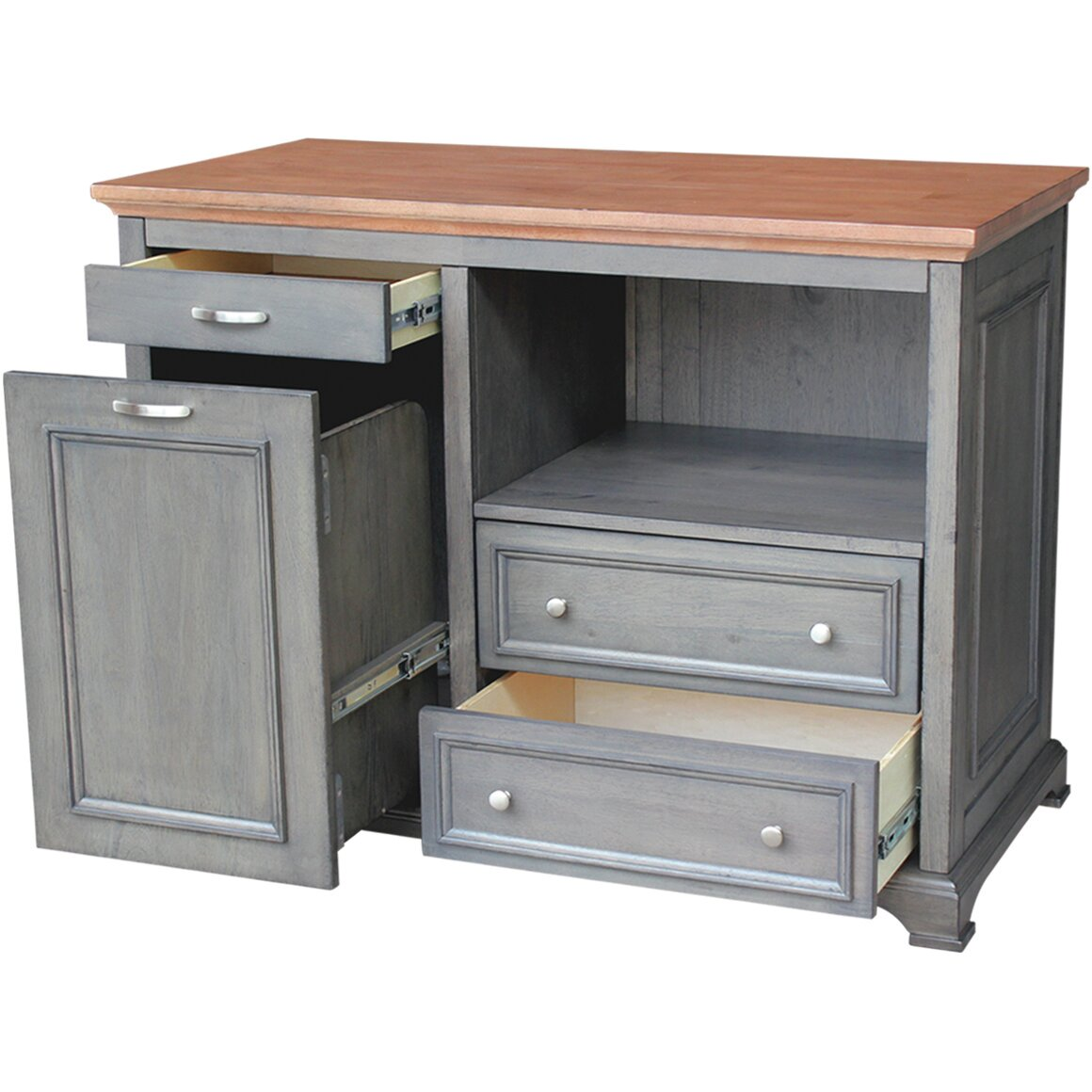 Just Cabinets Bristol Kitchen Island With Wood Top