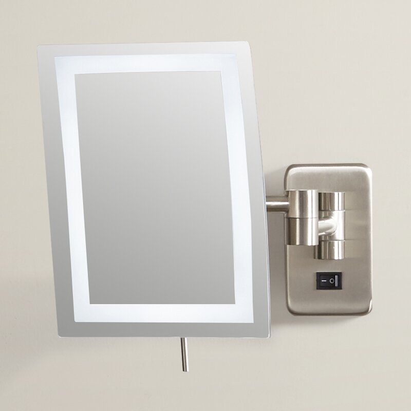 Wall Mounted Makeup Mirror wade logan alonso direct wire wall mount rectangular makeup mirror
