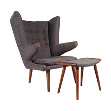 Papa Bear Wing back Chair and Ottoman by Joseph Allen