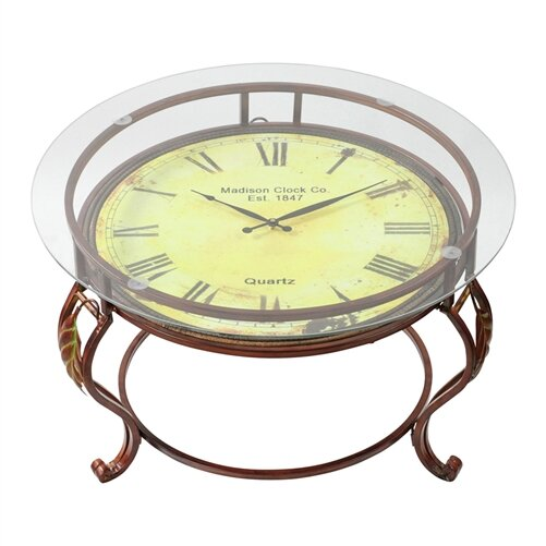 alcott hill lytton coffee table with clock & reviews   wayfair
