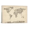 iCanvas 'Old Sheet Music World Map' by Michael Thompsett Graphic Art on Canvas