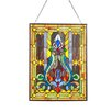 River of Goods Fleur de Lis Tiffany Style Stained Glass Window Panel