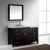"Virtu USA Caroline Parkway 57"" Single Bathroom Vanity Set with Carrara White Top and Mirror"