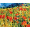 Art Group South Downs Poppies by Chris Forsey Canvas Wall Art