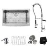"""Kraus 32.88"""" x 20.75"""" Farmhouse Kitchen Sink with Faucet and Soap Dispenser"""
