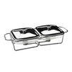 All Home Twin Steel Food Warmer with Marinex Glass Dishes