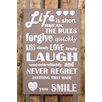 Factory4Home BD-Life Is Short Typography Plaque Set in Taupe (Set of 2)