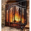 Plow & Hearth Two-Door Fireplace Screen with Glass Floral Panels