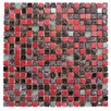 "Intrend Tile 0.63"" x 0.63"" Glass and Natural Stone Mosaic Tile in Glazed Red, sliver, gray and black"