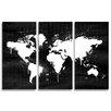 Oliver Gal Mapamundi Noir 3 Piece Graphic Art Wrapped on Canvas Set