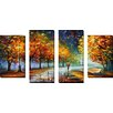 "Picture Perfect International ""Fall Marathon"" by Leonid Afremov 4 Piece Painting Print on Wrapped Canvas Set"