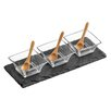 Wildon Home 7 Piece Fluted Glass Bowls/Bamboo Spoons, Slate Tray Set