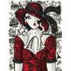 """DEInternationalGraphics Grafikdruck """"Chat sur robe rouge"""" von Mirota"""