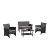 Madison Home USA Modern Outdoor Garden Patio 4 Piece Seating Group with Cushion