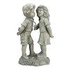 Northlight Seasonal Stone Boy and Girl First Kiss Garden Statue