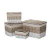 Castleton Home Lido 4 Piece Rectangular Storage Willow Basket Set