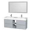 "Wyndham Collection Daniella 60"" Double Dove Gray Bathroom Vanity Set with Mirror"
