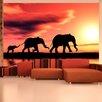 Artgeist Elephants Families 1.54m x 200cm Wallpaper