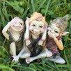 Castleton Home Pixie Hear/See/Speak No Evil Outdoor Garden Statue