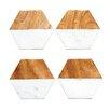 Pure Marble and Mango Wood Hexagon Shaped Coaster (Set of 4)
