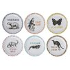 "Creative Co-Op Notion Animal and Saying Round Melamine 8.5"" Salad or Dessert Plate (Set of 6)"