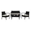 Charlton Home Fayette 4 Piece Wicker Seating Group with Cushion