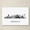"Trademark Fine Art ""Nashville Tennessee Skyline WB-BW"" by Marlene Watson Graphic Art on Wrapped Canvas"