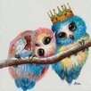 Vintage Boulevard Birds in Love Wall Art on Canvas