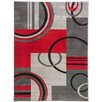Well Woven Ruby Modern Galaxy Waves Grey/Red Area Rug