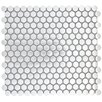 "Emser Tile Gleam 12"" x 12 Metal over Ceramic Penny Mosaic Tile in Silver"