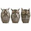 Castleton Home Owls Polyresin 3 Piece Sculpture Set