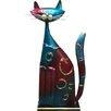 Castleton Home Animal Colourful Standing Metal Decorative Cat Statue