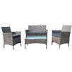 Belleze 4 Piece Deep Seating Group with Cushion